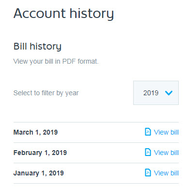 Account history option in My Shaw Web