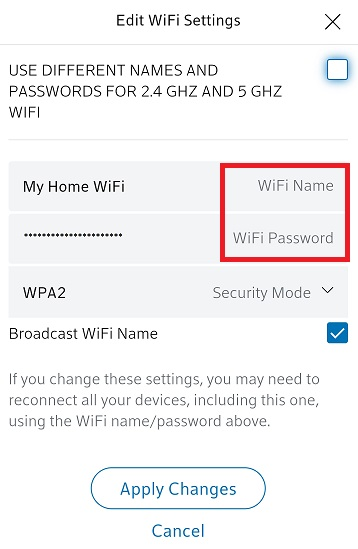 BlueCurve Home app: WiFi Settings