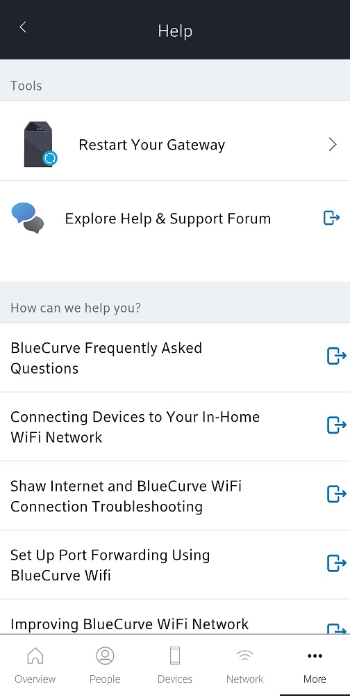 BlueCurve Home app: Help Section