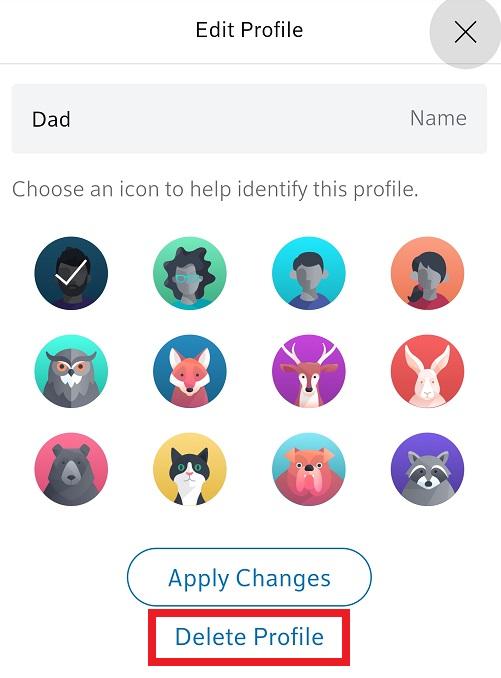BlueCurve Home app: Delete Profile