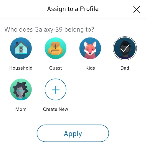 BlueCurve Home app: Assign to Profile