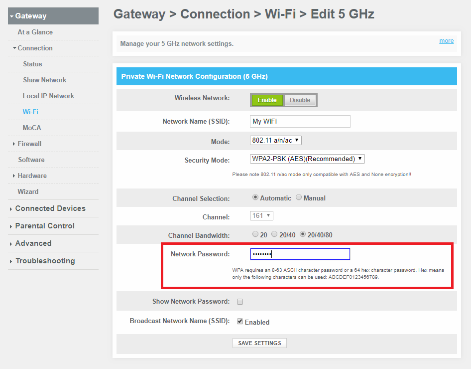 How to change the WiFi password on a BlueCurve Gateway