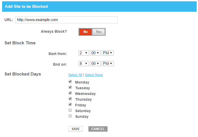 Add Blocked Site