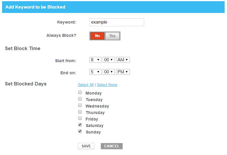Add Blocked Keyword