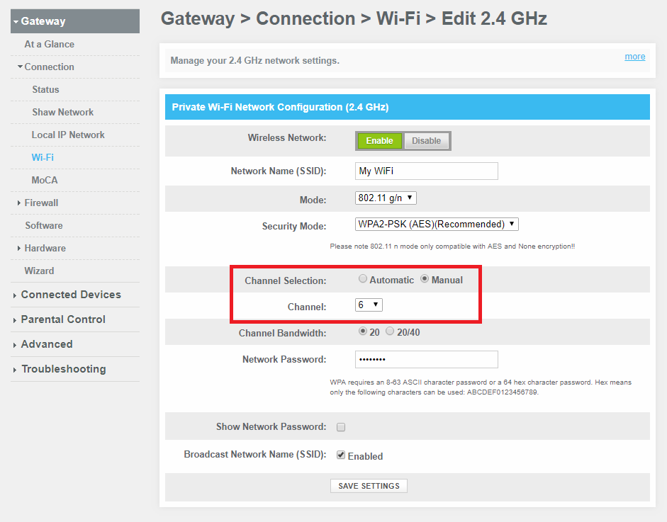 How To: Change the WiFi channel on Shaw modem - Shaw Support