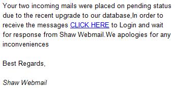 Phishing scam email pending status
