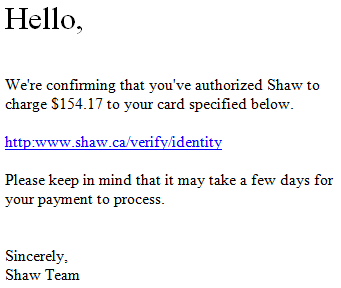Phishing scam payment authorization