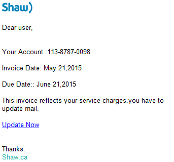 Phishing scam invoice