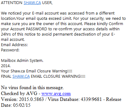 Phishing scam email deactivation