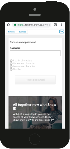 Shaw ID change password