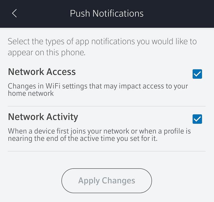 BlueCurve Home Push Notification Settings