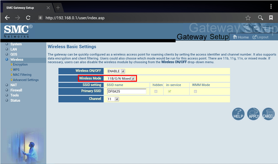 SMC Modem Settings: Wireless Mode