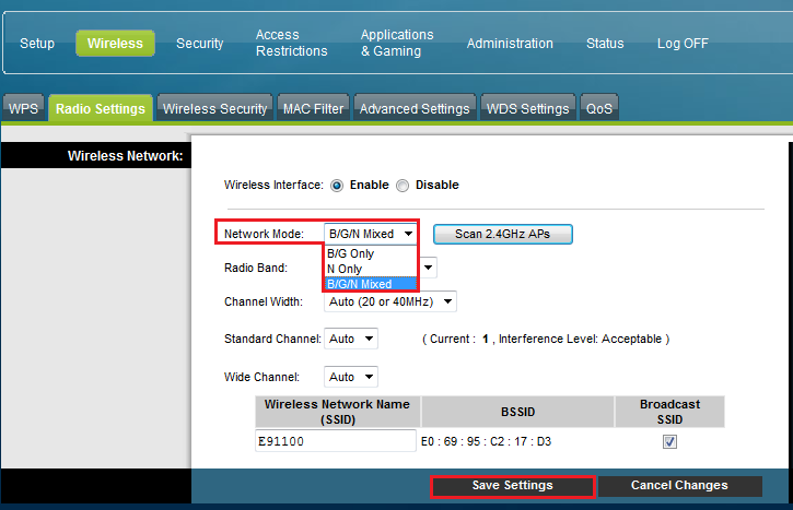 Cisco WiFi Modem Settings: Network Mode