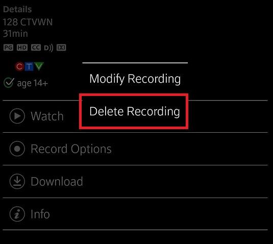 Delete Recording