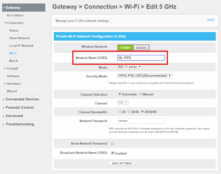 Change WIFi Settings on BlueCurve Gateway