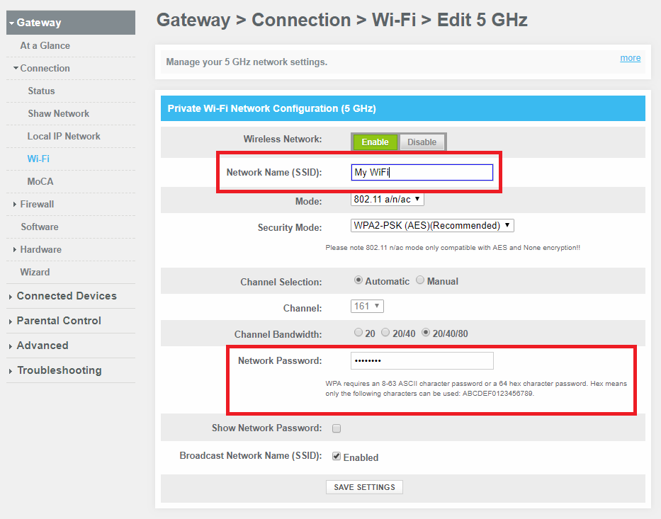 Gateway Admin Tool: WiFi Settings