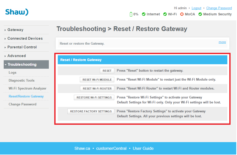 Gateway Admin Tool > Troubleshooting > Reset/Restore Options