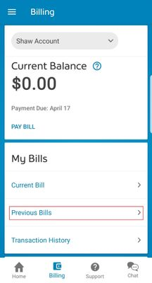 My Shaw App Previous bills.jpg