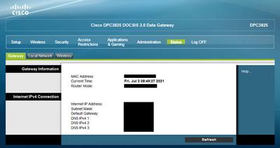 Shaw Cisco DPC3825 Advanced Settings Status Gateway No Firmware Version 02 Jul 2021.png