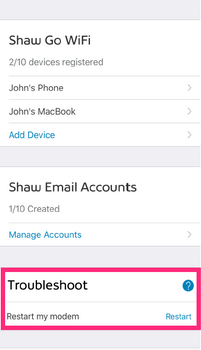 Restart your modem using the My Shaw mobile app