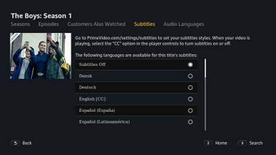 Change subtitle settings in Prime Video